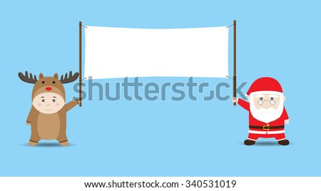 Santa Claus and Boy in Reindeer costume holding Blank Banner. Vector Cartoon for Christmas and New Year Advertising