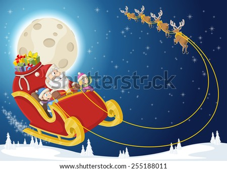 Santa Claus and children on sleigh with reindeer flying on christmas night  - stock vector