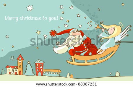 Santa Claus and christmas angel in sleigh. New year postcard - stock vector