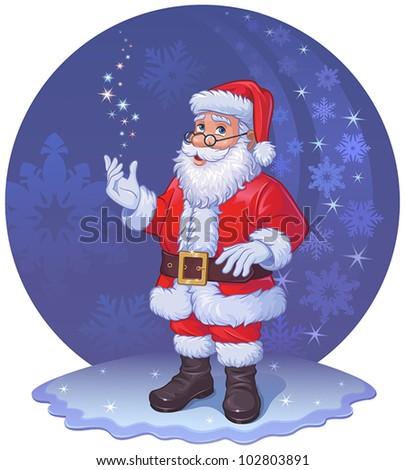 Santa Claus and  Christmas magic - stock vector
