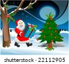 Santa Claus and Christmas tree - stock photo