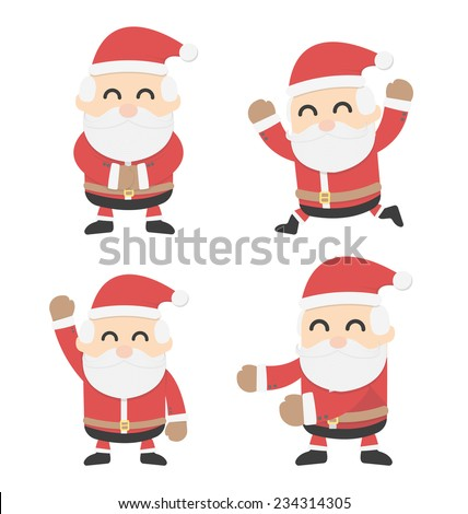 Santa Claus and different poses  - stock vector