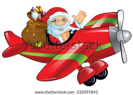 Santa Claus and gifts on an airplane-single level-Transparency blending effects and gradient mesh-EPS 10  - stock vector