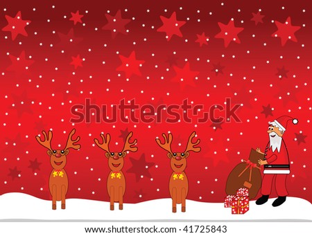 Santa Claus and reindeer background.