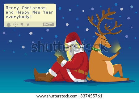"Santa claus and Reindeer sit on the ground  lean on each other sending a post "" Merry Christmas and Happy New Year everybody!"" from theirs mobile phone in snowy night - stock vector"