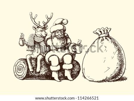 Santa Claus and reindeer taking a coffee break - stock vector