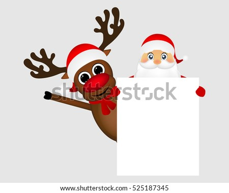 Santa Claus and reindeer with a blank white placard banner