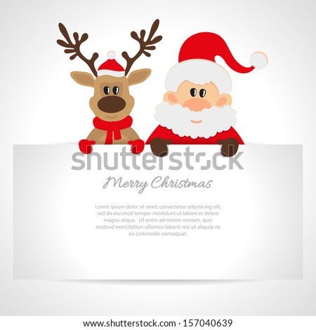 Santa Claus and reindeer with a place for text greeting card - stock vector