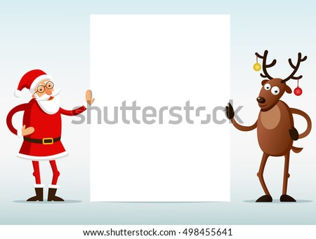 Santa Claus and Reindeer with blank. Vector illustration.