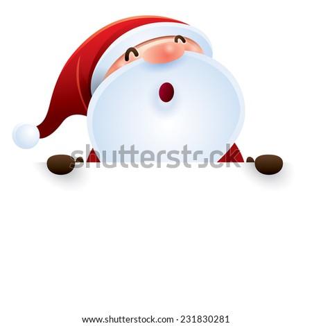Santa Claus and sign - stock vector