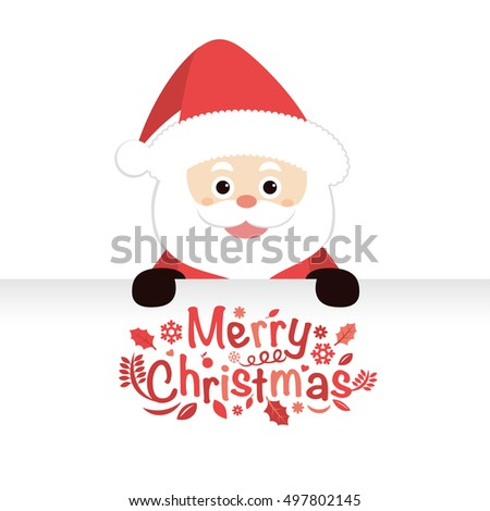 Santa Claus and sign. vector illustration