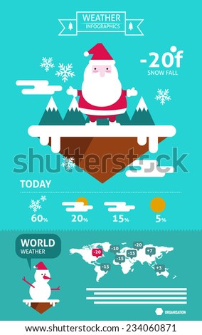Santa claus and snowfall weather info graphics. flat design element. vector illustration - stock vector