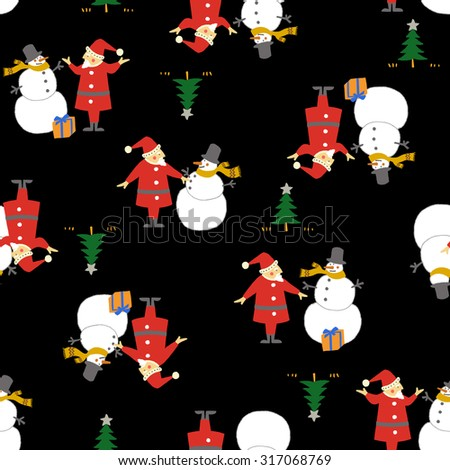Santa Claus and snowman - stock vector