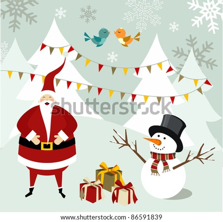 Santa Claus and snowman illustration celebrating Christmas with gifts in a snowy background.  Vector file available. - stock vector