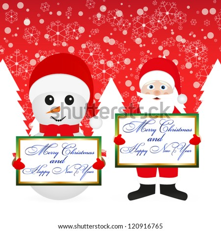 Santa Claus and snowman in the woods with a banner on the background of the red sky - stock vector