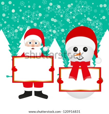 Santa Claus and snowman in the woods with empty banner - stock vector