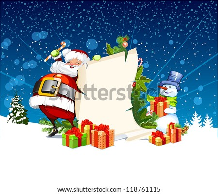 Santa Claus and snowman standing next to a scroll for gifts - stock vector
