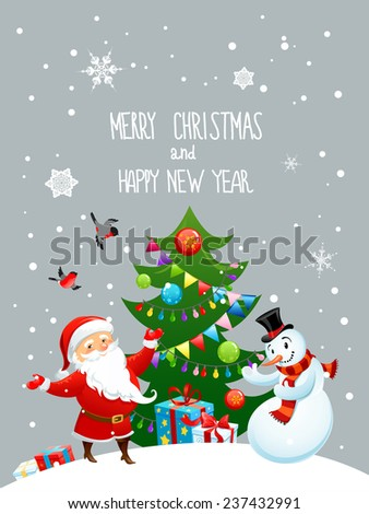 Santa Claus and snowman with Christmas tree. Holiday card - stock vector