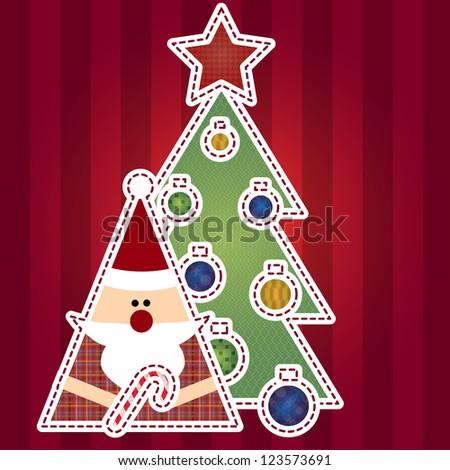 Santa Claus and tree - stock vector