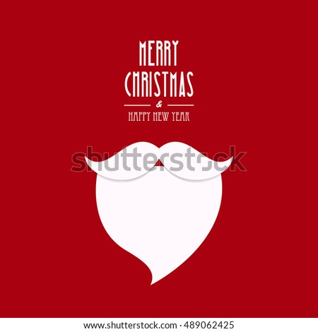 santa claus beard christmas type red background
