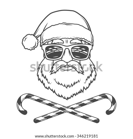 Santa Claus biker with candy cones and hipster glasses print design. Vintage disco man Christmas portrait. Rock and roll new year t-shirt illustration - stock vector