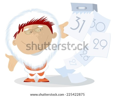 Santa Claus breaks the calendar pages - stock vector