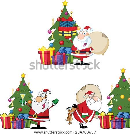 Santa Claus By A Christmas Tree. Vector Collection Set - stock vector