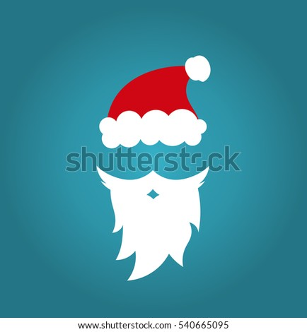 Santa Claus cap and beard on blue background illustration. Christmas fun
