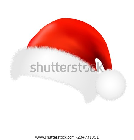 Santa Claus Cap With Gradient Mesh, Vector Illustration - stock vector
