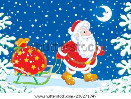 Santa Claus carrying a big bag of Christmas gifts on his sledge through the snow-covered forest - stock vector