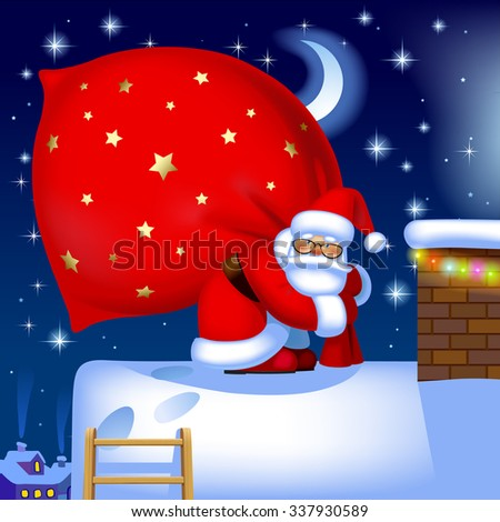 Santa Claus carrying a big red sack full of gifts on the roof of house near a chimney against the winter night background. Vector illustration - stock vector