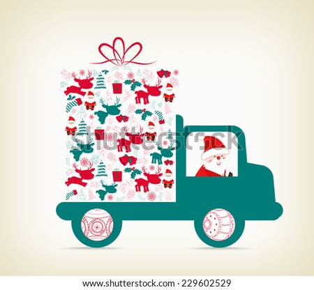 Santa Claus carrying a gift on the car - stock vector