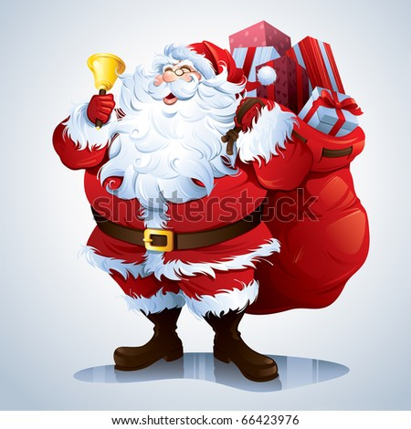Santa Claus carrying sack full of gifts. - stock vector