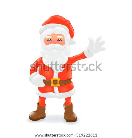 Santa Claus. Cartoon character. Isolated on white. Vector illustration.