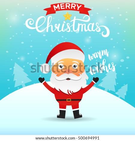 Santa claus cartoon character saying warm stock vector 500694991 santa claus cartoon character saying warm wishes merry christmas greeting card m4hsunfo