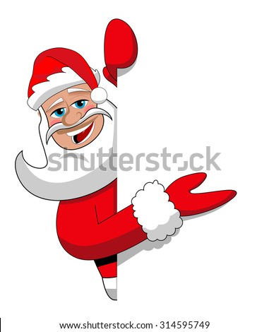 Santa claus cartoon presenting blank white billboard sign isolated