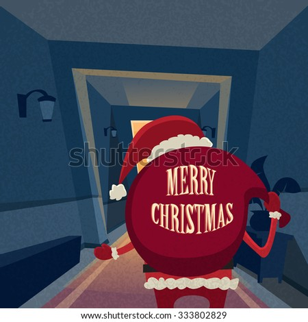 Santa Claus Cartoon Rear View Back Gift Bag Copy Space Happy New Year Holiday Merry Christmas Concept Retro Flat Vector Illustration - stock vector