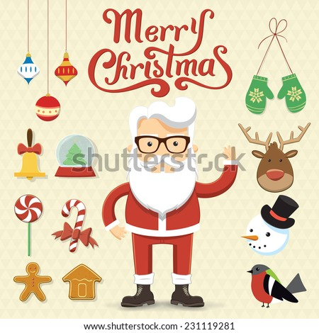 Santa Claus character illustration with many Christmas elements, objects. Marry Christmas vector set - stock vector