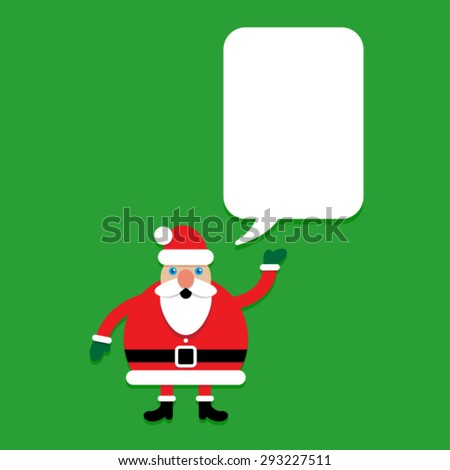 Santa Claus Character with talking bubble template - stock vector