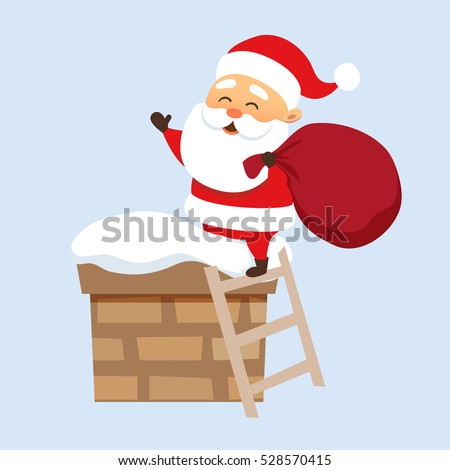 Santa Claus Christmas illustration. Father Frost climbs on the roof chimney on the stairs and hold bag . New year character design.