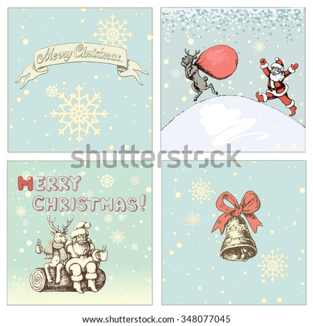Santa Claus Christmas set. Santa and reindeer Christmas elements vector illustrationS - stock vector