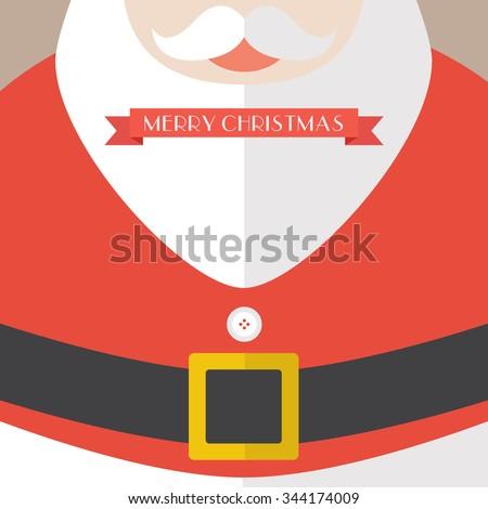 Santa Claus Coat Merry Christmas. Greeting card - stock vector