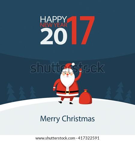 Santa Claus congratulates Happy New Year, illustration, illustration - stock vector