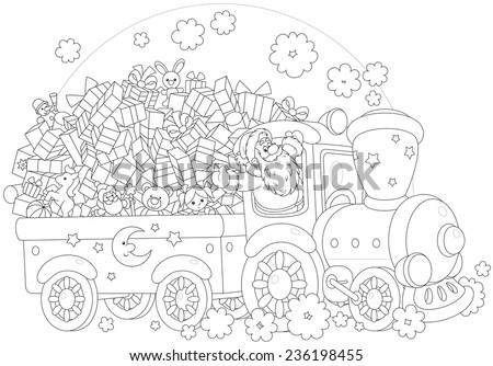 Santa Claus delivering his Christmas gifts on a train - stock vector