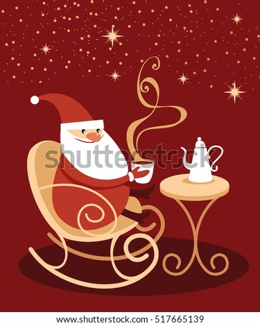 Santa Claus drinking hot chocolate sitting in cozy rocking chair