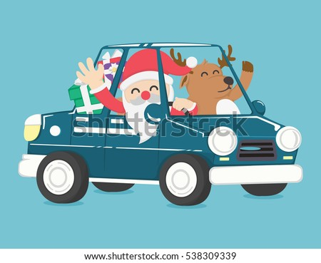 santa claus drive a car full of christmas gift