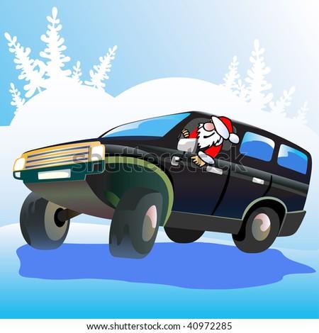 Santa  Claus  drives  off-road car. - stock vector