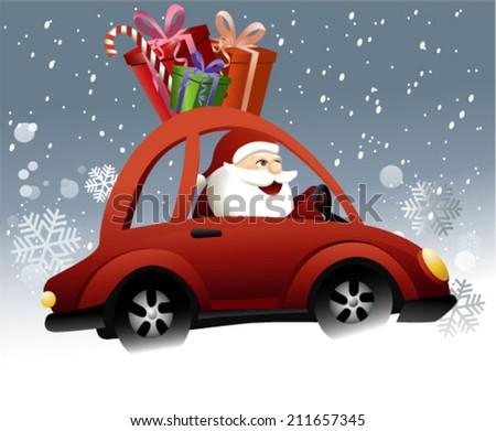 Santa Claus driving a car - stock vector