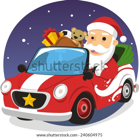 Santa Claus driving sports car delivering presents, vector illustration cartoon.