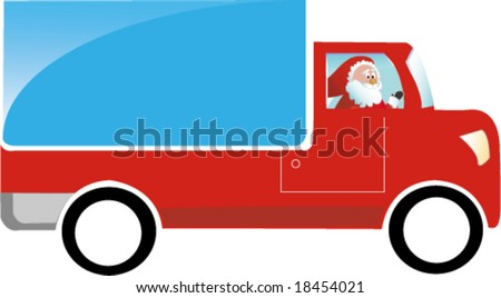 Santa Claus driving truck - stock vector